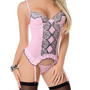 Pink & Black Embroidered Bustier Set